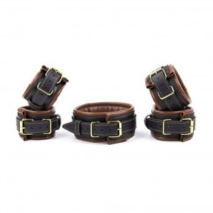 Soft Leather Submissive Wrist Ankle Restraints and Handler's Collar kits