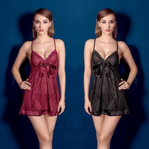 Deep V Neck Lace mesh lingerie set