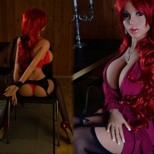 155cm 5.08ft Silicone Lifelike Red Hair Girl Real Sex Doll 3 Holes Realistic Adult Love Doll Allison