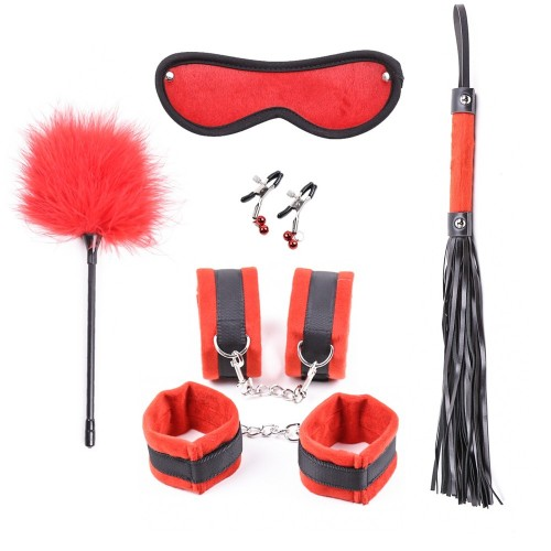 Red Hot Passion Bedroom Bondage Kit Bondage Boutique For Couples (6 Piece)