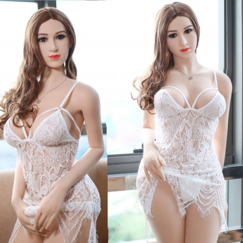 165cm 5.41ft Lifelike Love Doll Adult Silicone Sex Doll White Skin Big Ass Brown Hair